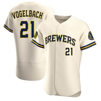 Men's Daniel Vogelbach Milwaukee Cream Authentic Home Baseball Jersey (Unsigned No Brands/Logos)