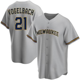 Men's Daniel Vogelbach Milwaukee Gray Replica Road Baseball Jersey (Unsigned No Brands/Logos)