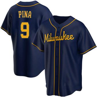 Men's Manny Pina Milwaukee Navy Replica Alternate Baseball Jersey (Unsigned No Brands/Logos)