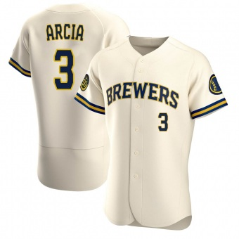 Men's Orlando Arcia Milwaukee Cream Authentic Home Baseball Jersey (Unsigned No Brands/Logos)