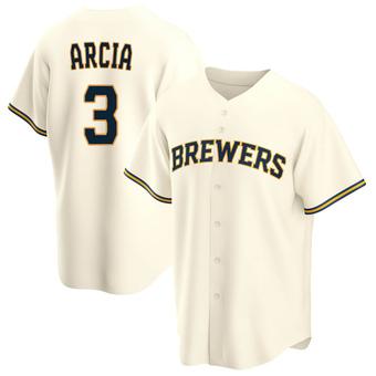 Men's Orlando Arcia Milwaukee Cream Replica Home Baseball Jersey (Unsigned No Brands/Logos)