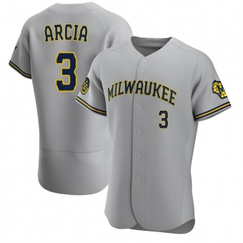 Men's Orlando Arcia Milwaukee Gray Authentic Road Baseball Jersey (Unsigned No Brands/Logos)