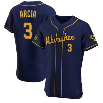 Men's Orlando Arcia Milwaukee Navy Authentic Alternate Baseball Jersey (Unsigned No Brands/Logos)