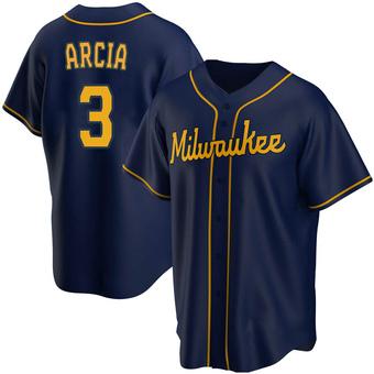 Men's Orlando Arcia Milwaukee Navy Replica Alternate Baseball Jersey (Unsigned No Brands/Logos)