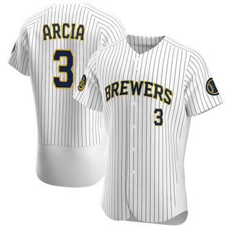 Men's Orlando Arcia Milwaukee White Authentic Alternate Baseball Jersey (Unsigned No Brands/Logos)