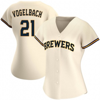 Women's Daniel Vogelbach Milwaukee Cream Authentic Home Baseball Jersey (Unsigned No Brands/Logos)