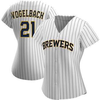 Women's Daniel Vogelbach Milwaukee White/Navy Authentic Alternate Baseball Jersey (Unsigned No Brands/Logos)