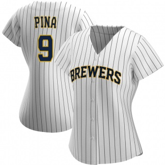 Women's Manny Pina Milwaukee White/Navy Authentic Alternate Baseball Jersey (Unsigned No Brands/Logos)