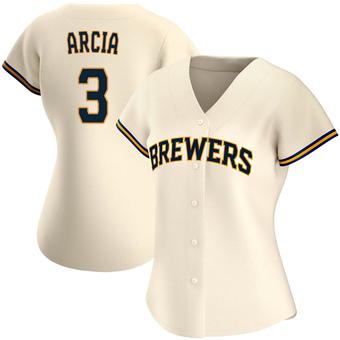 Women's Orlando Arcia Milwaukee Cream Authentic Home Baseball Jersey (Unsigned No Brands/Logos)