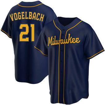 Youth Daniel Vogelbach Milwaukee Navy Replica Alternate Baseball Jersey (Unsigned No Brands/Logos)