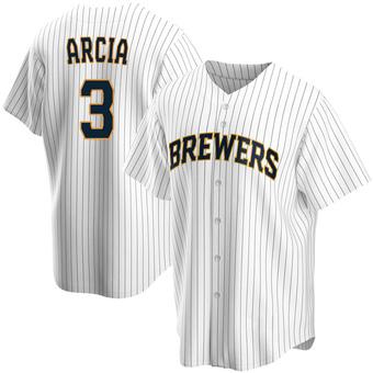 Youth Orlando Arcia Milwaukee White Replica Home Baseball Jersey (Unsigned No Brands/Logos)